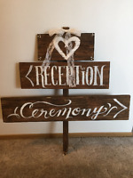 Wooden Ceremony Reception Sign for Wedding