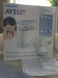 Philips Avent 3-in-1 Electric Steam Steriliser + 1 bottle & tongs