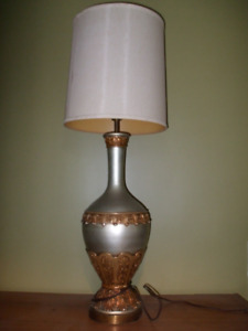 40 inch Silver Ceramic Lamp with Shade