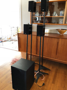 1 Pr  ENERGY  TAKE 5 Compact Speakers-Gloss Black + Stands/cable