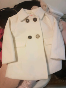 White Peacoat Size 6 to 12months