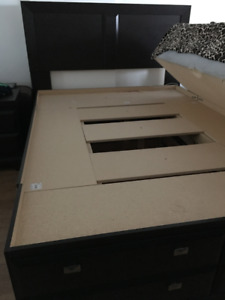 Selling Queen-size bed with 12 drawers with large headboard
