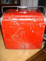 Coca-Cola? Old red chest cooler for sale