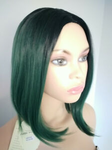 NEW WITH TAGS: Deluxe Black-Green Ombre Wig