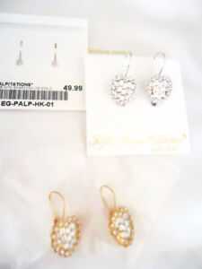 Gold or Silver Swarovski Crystal Heart Shaped Drop Earrings NEW