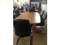 Boardroom conference meeting table and six chairs