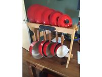 Le Creuset 5 piece pan set. New never used includes lids and stand