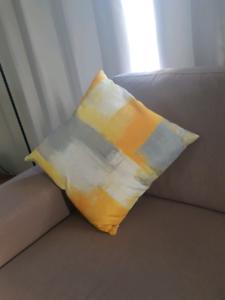 Cushion cover grey/white/yellow