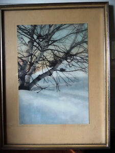 """Hand Signed, Hand Colored Photo by F. Jacquet  """"Birch Tree"""" 1920"""