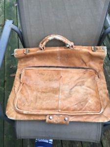 Large vintage leather garment bag luggage