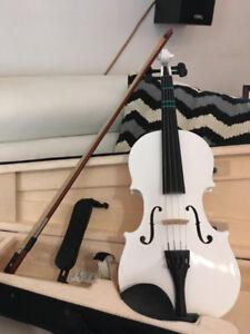 violon blanc 1/2 mendini by cecillo archet case et + comme NEUF
