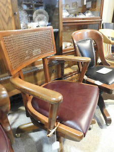 antique vintage office chair mid century modern new leather seat