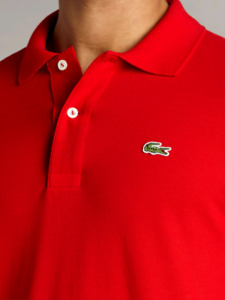 Brand New Lacoste Polo long Sleeve (Red, Black and White)