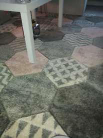 pink and grey rug