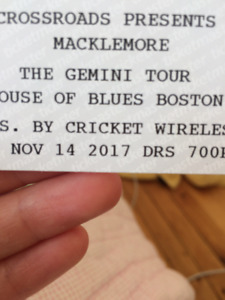 2 tickets to Macklemore Nov.14th Boston