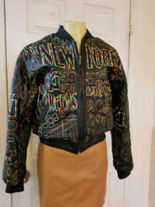 Unique New York  Themed Leather Bomber Jacket Size M