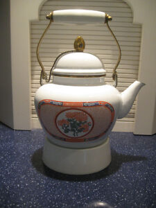 LARGE VINTAGE ['88] CHRYSANTHEMUM ENAMELWARE TEA KETTLE