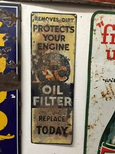 Rare 1953 Embossed AC Delco oil filter sign