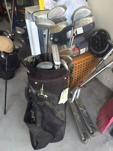 Mixed golf clubs and bag