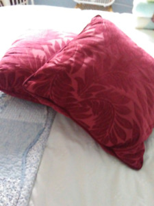 2 coussins rouge 10$