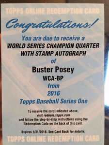 2016 Topps Buster Posey REDEMPTION /10 World Series Auto