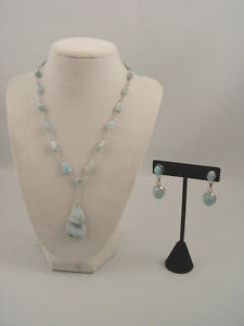 Sterling Silver Wire Genuine Larimar Stones Necklace Earring Set