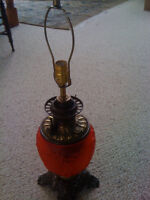One of a Kind Red Glass Converted Oil Lamp