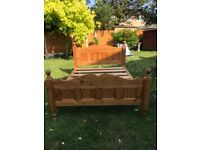 Waxed solid pine King size bed frame