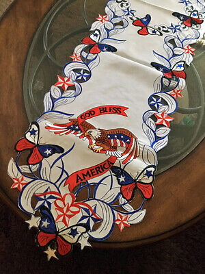 Patriotic 4th of July Decor Table Runner Eagle GOD BLESS AMERICA Red White Blue