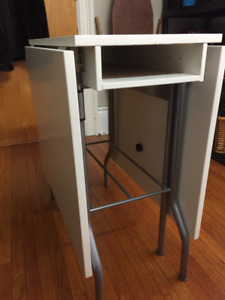 Ikea Fold-out Table, white, with middle shelf