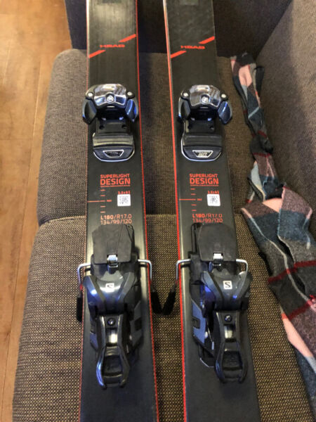 Head kore skis 99 180cm l rec mount 26/26.5 boot. used 2 days