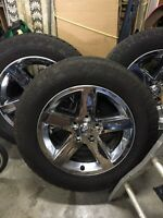 "Stock Dodge Ram 20"" Chrome Wheels with Toyo Open Country Tires"