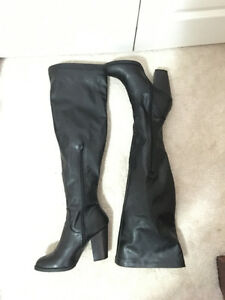Over the knee high heeled boots