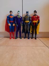 DC superhero figures- Batman, Robin, Superman & Joker £15