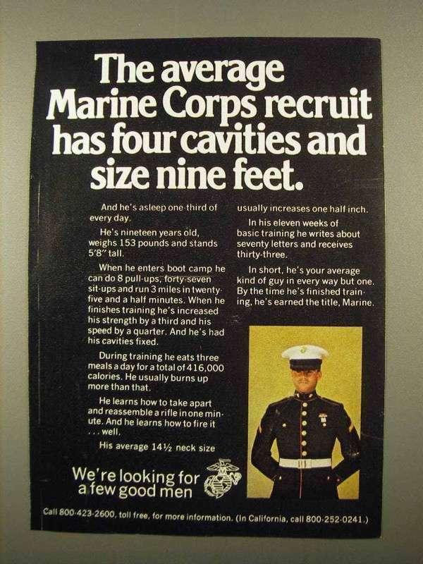 1975 U.S. Marines Ad - The Average Recruit