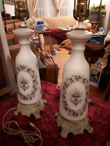 Vintage French Handpainted Satin Glass Lamps