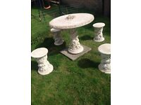 Concrete table and chairs for garden