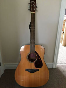 Acoustic Guitar, Case, and Music Stand