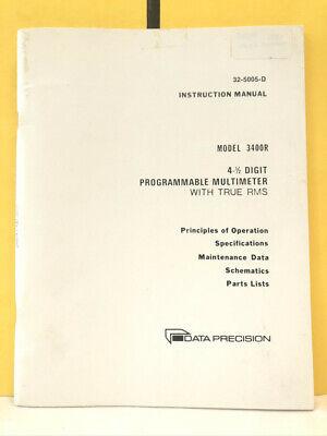 Data Precision 32-5005-d Model 3400r Programmable Multimeter True Rms Manual