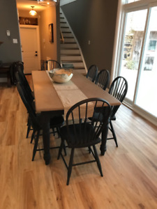 Harvest table and 8 chairs $400