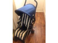 2015 MACLAREN QUEST IN BUTCHERS STRIPE ( NAVY/WHITE).. USED 2 WEEKS ON HOLIDAY AS NEW £85