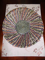 Circular colourful basket from the Philippines for sale!