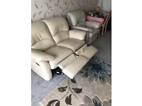 Real leather three piece suite recliners