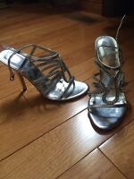 Prom shoes silver and gold pair