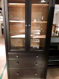 HEMNES,Glass-door cabinet with 3 drawers, black-brown/light brown,IKEA Was £299 #BargainCorner