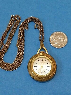Vintage Jewelry ORIS Swiss Made Watch Necklace WIND UP Works Ornate