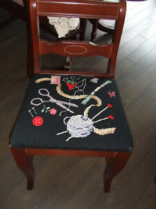 Sewing Machine Chair (Vintage) with Beautiful Needlepoint Seat