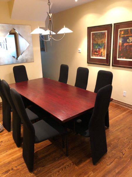 dining room table chairs and side board 10 piece set
