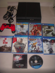 PS4 with 8 games and red controller
