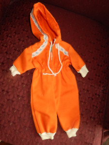 "Dolly all-in-one snowsuit-w/ hood- orange-NEW-fits a 12"" doll"